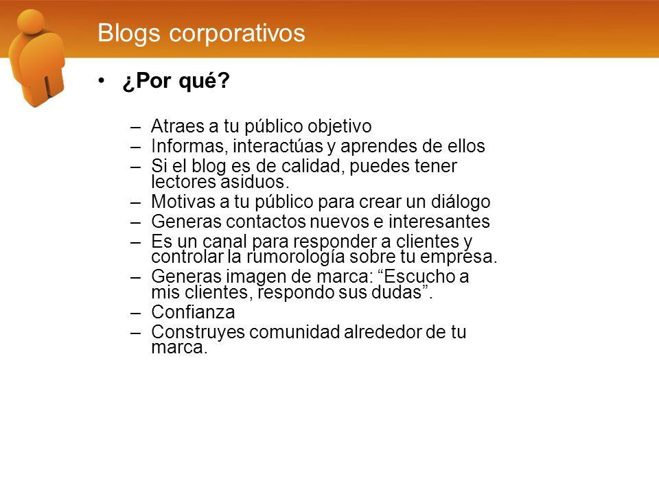 Blogs Corporativos Tipos: –Blogs de marca: Sirven para introducir una marca, cambiarla o reforzarla.