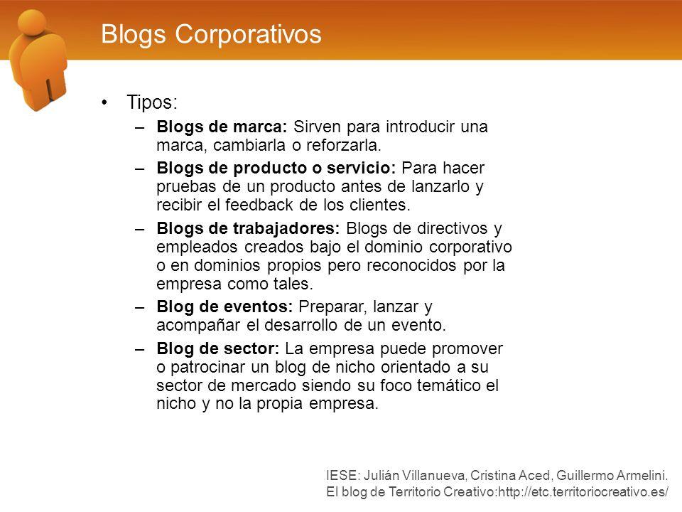 Blogs Corporativos Tipos: –Blogs de marca: Sirven para introducir una marca, cambiarla o reforzarla. –Blogs de producto o servicio: Para hacer pruebas