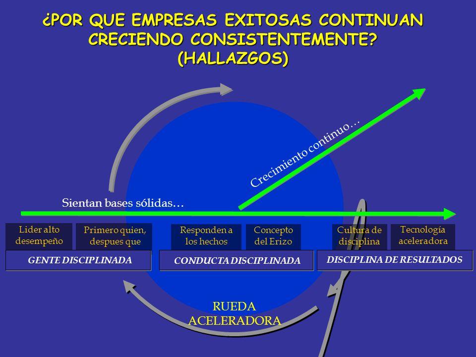 Lider alto desempeño RUEDA ACELERADORA Primero quien, despues que Responden a los hechos Concepto del Erizo Cultura de disciplina Tecnología acelerado