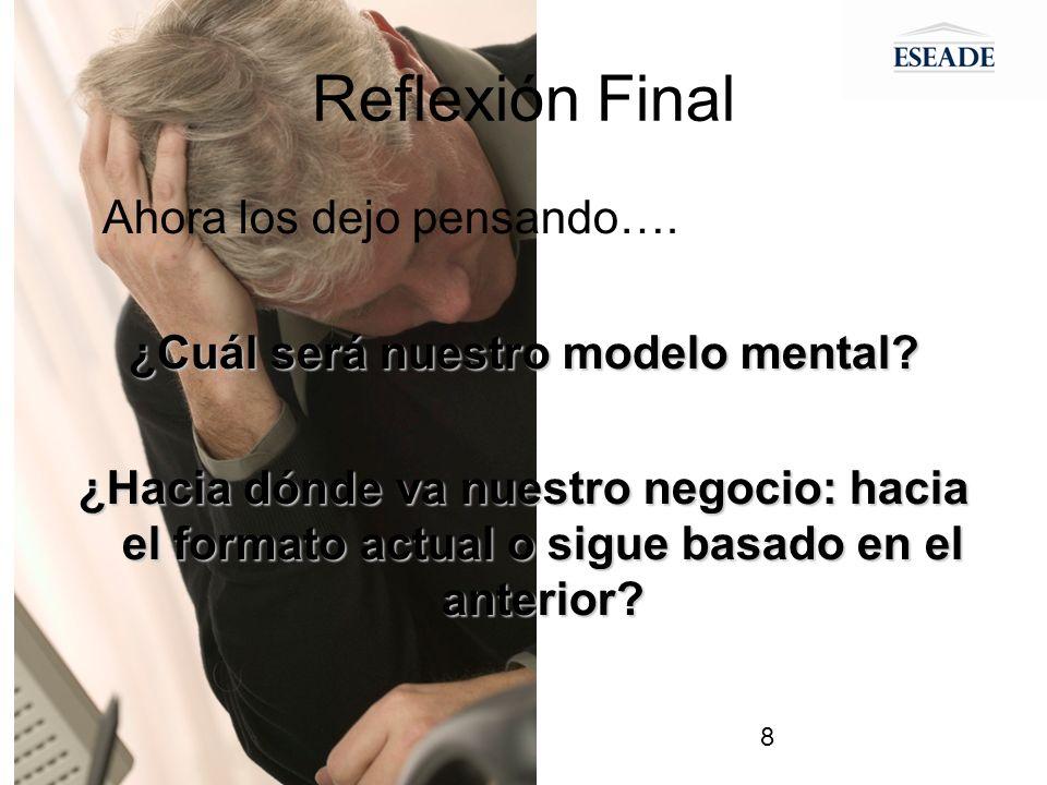 8 Reflexión Final Ahora los dejo pensando…. ¿Cuál será nuestro modelo mental.