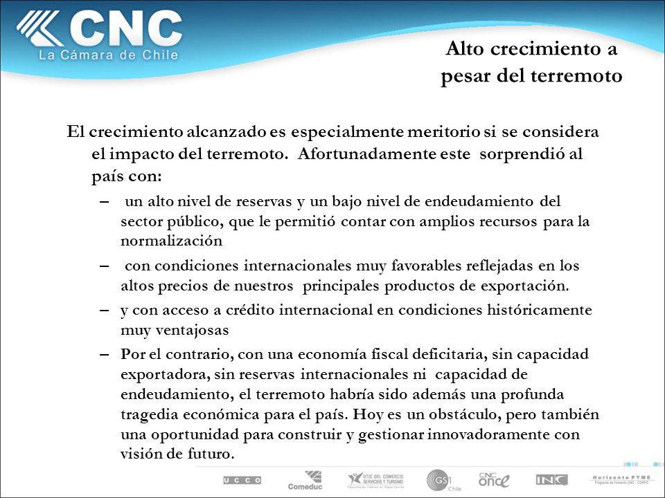 El 1er Trimestre denota el impacto del terremoto Fuente: Departamento de Estudios CNC
