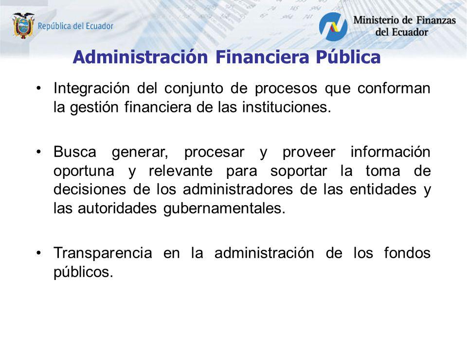 Administración Financiera Pública Integración del conjunto de procesos que conforman la gestión financiera de las instituciones.