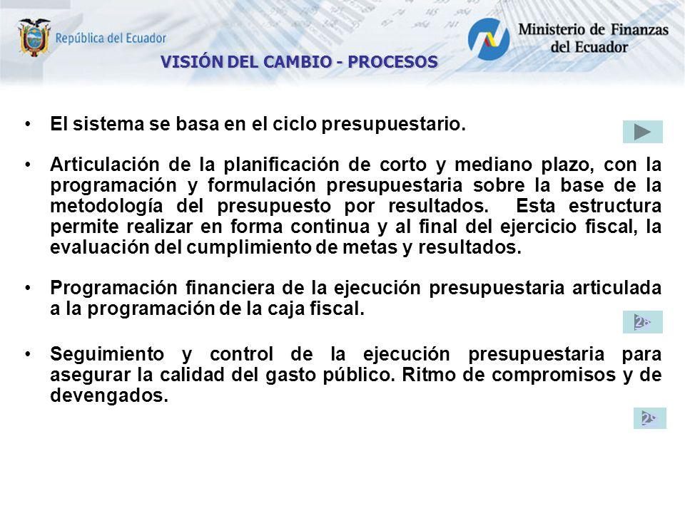 El sistema se basa en el ciclo presupuestario.