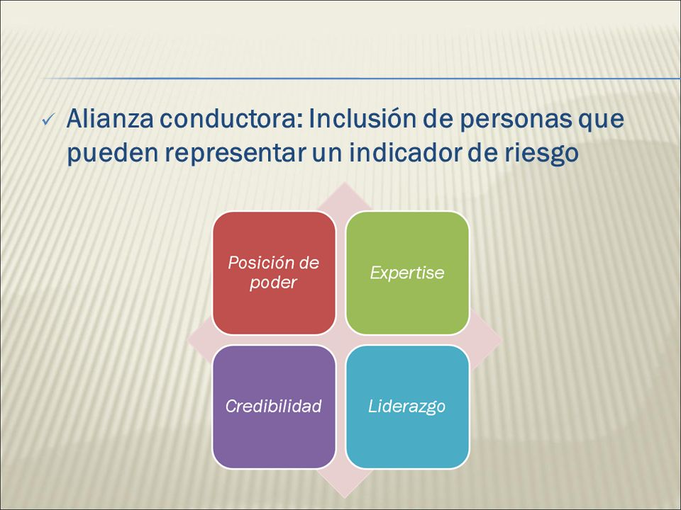 Alianza conductora: Inclusión de personas que pueden representar un indicador de riesgo