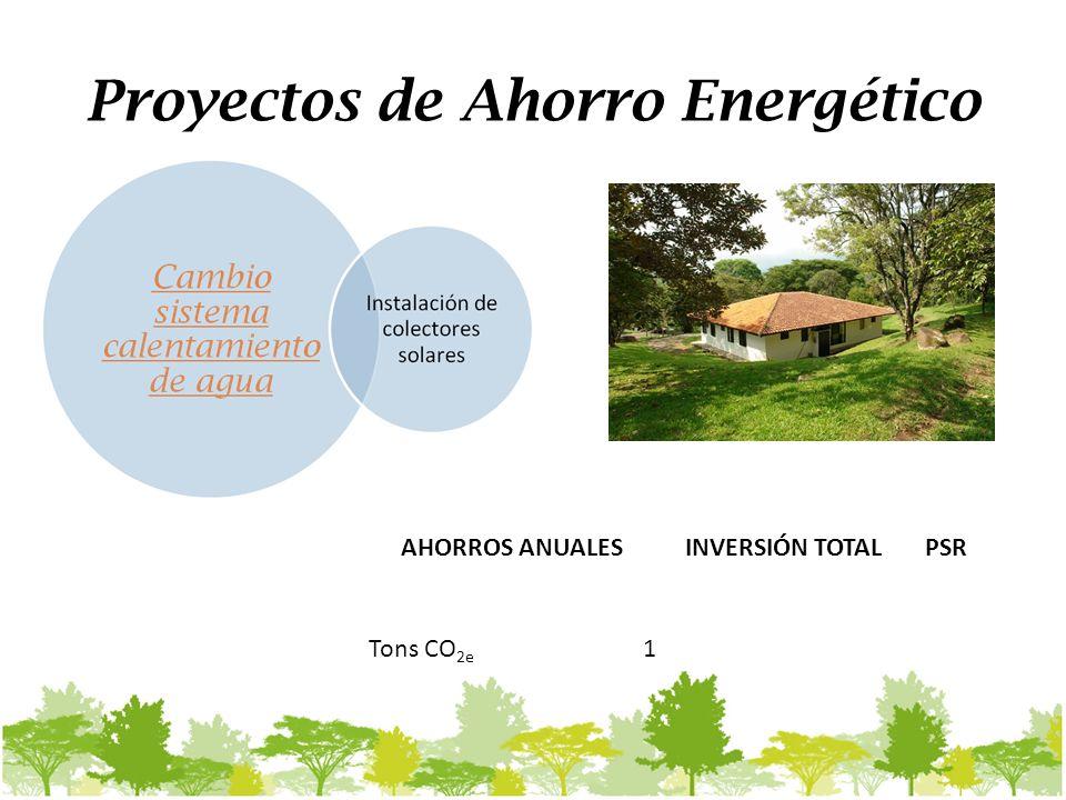 Proyectos de Ahorro Energético AHORROS ANUALESINVERSIÓN TOTALPSR Tons CO 2e 1