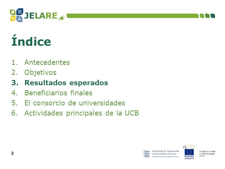 Project is funded by the European Union 19 1.Antecedentes 2.Objetivos 3.Resultados esperados 4.Beneficiarios finales 5.