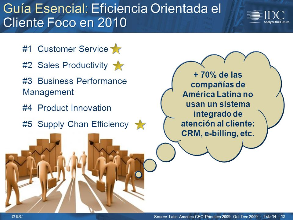 Feb-14 © IDC 12 Guía Esencial: Eficiencia Orientada el Cliente Foco en 2010 Source: Latin America CEO Priorities 2009, Oct-Dec 2009 #1 Customer Servic