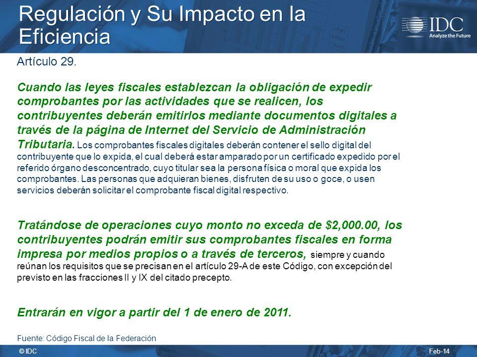 Feb-14 © IDC Regulación y Su Impacto en la Eficiencia Artículo 29.