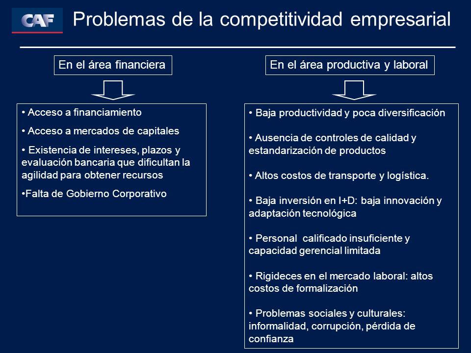 Problemas de la competitividad empresarial Acceso a financiamiento Acceso a mercados de capitales Existencia de intereses, plazos y evaluación bancari