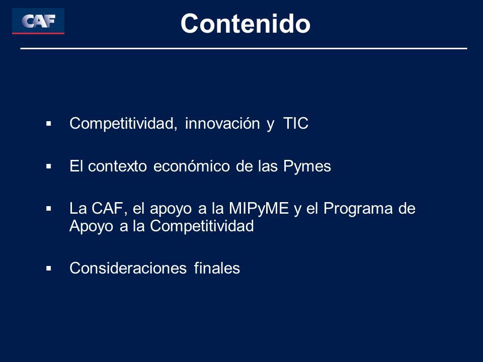 Contenido Competitividad, innovación y TIC El contexto económico de las Pymes La CAF, el apoyo a la MIPyME y el Programa de Apoyo a la Competitividad