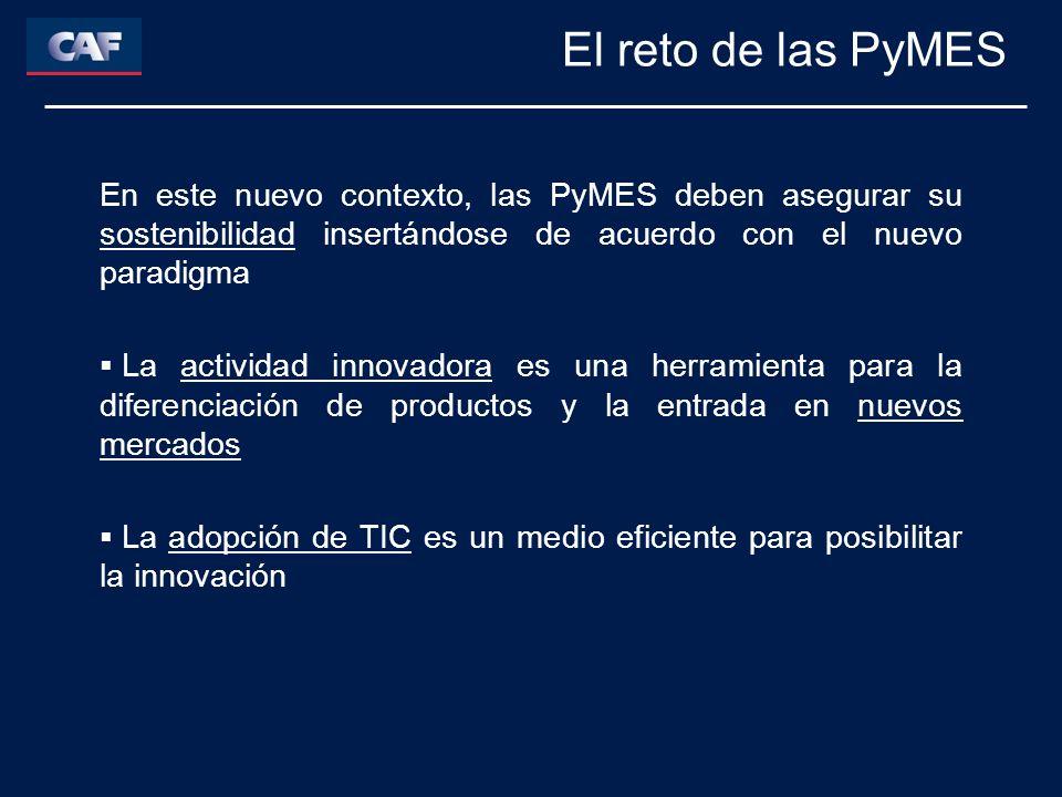 En este nuevo contexto, las PyMES deben asegurar su sostenibilidad insertándose de acuerdo con el nuevo paradigma La actividad innovadora es una herramienta para la diferenciación de productos y la entrada en nuevos mercados La adopción de TIC es un medio eficiente para posibilitar la innovación El reto de las PyMES