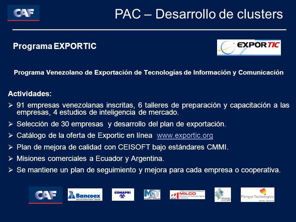 Programa Venezolano de Exportación de Tecnologías de Información y Comunicación Actividades: 91 empresas venezolanas inscritas, 6 talleres de preparac