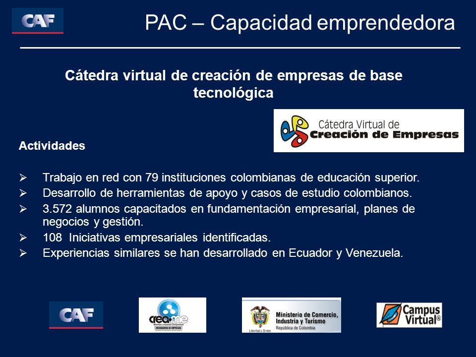Actividades Trabajo en red con 79 instituciones colombianas de educación superior. Desarrollo de herramientas de apoyo y casos de estudio colombianos.