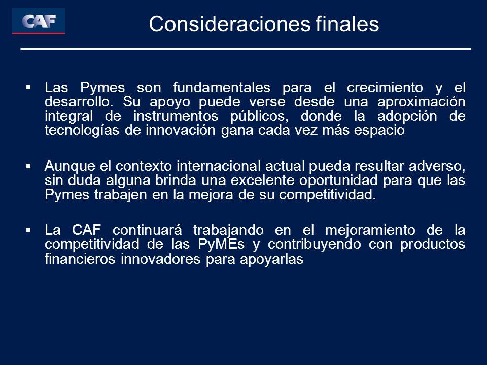 Las Pymes son fundamentales para el crecimiento y el desarrollo. Su apoyo puede verse desde una aproximación integral de instrumentos públicos, donde