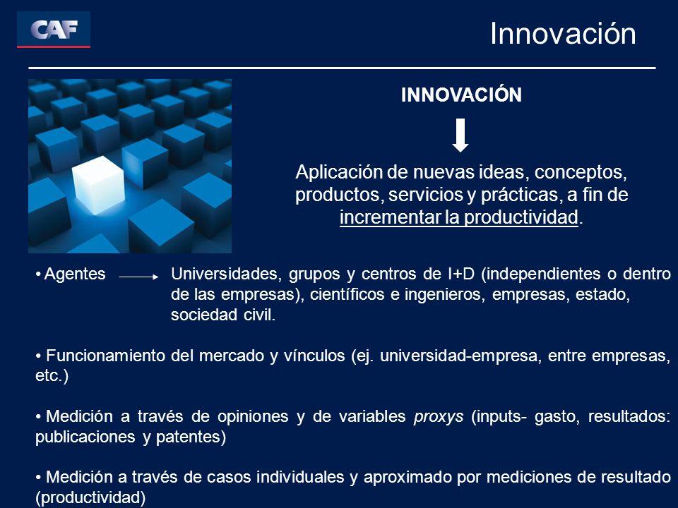 Innovación INNOVACIÓN Aplicación de nuevas ideas, conceptos, productos, servicios y prácticas, a fin de incrementar la productividad. Agentes Universi