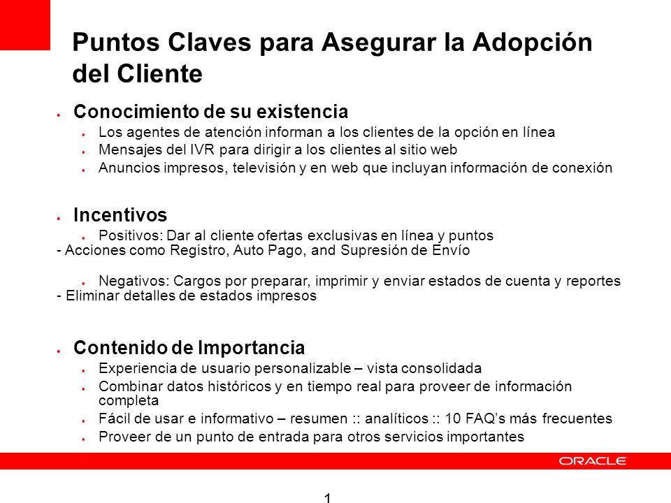 10 Puntos Claves para Asegurar la Adopción del Cliente Conocimiento de su existencia Los agentes de atención informan a los clientes de la opción en l