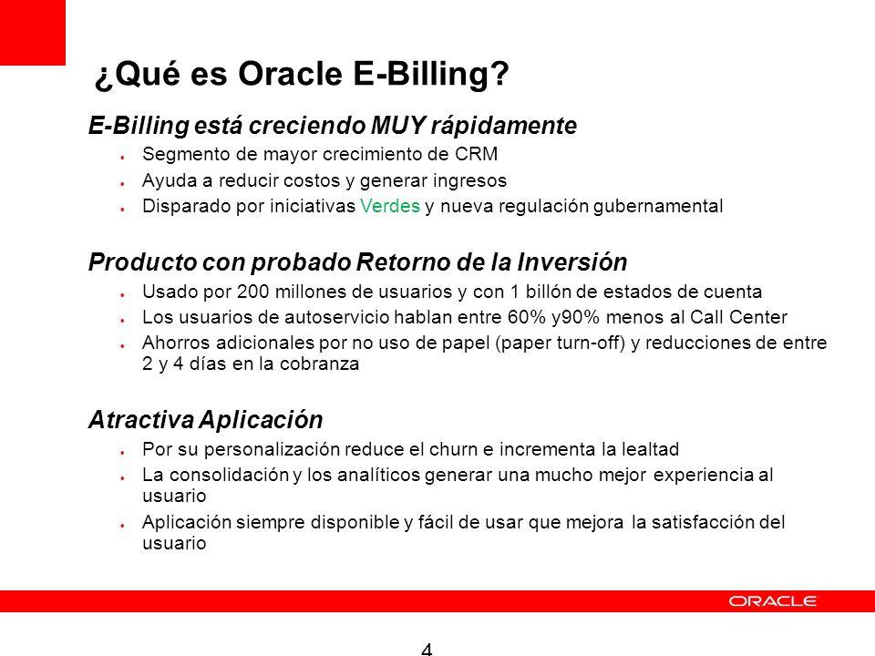 4 E-Billing está creciendo MUY rápidamente Segmento de mayor crecimiento de CRM Ayuda a reducir costos y generar ingresos Disparado por iniciativas Ve