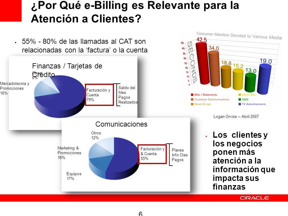 6 ¿Por Qué e-Billing es Relevante para la Atención a Clientes? Los clientes y los negocios ponen más atención a la información que impacta sus finanza