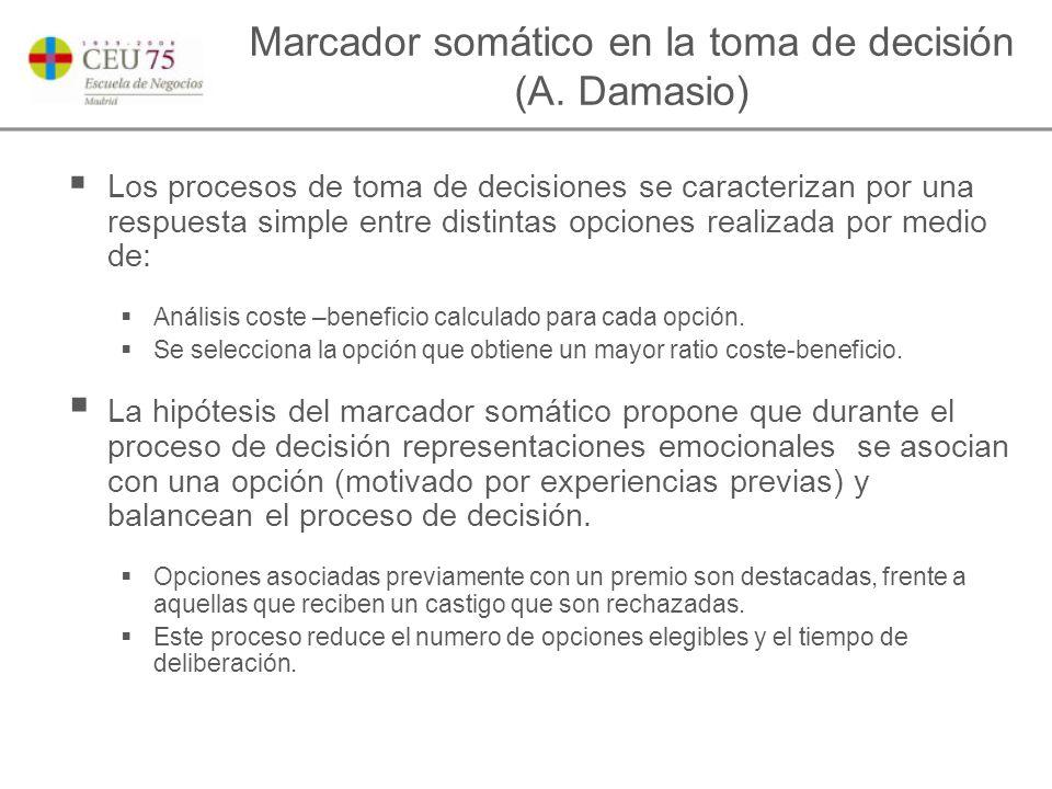 Marcador somático en la toma de decisión (A.