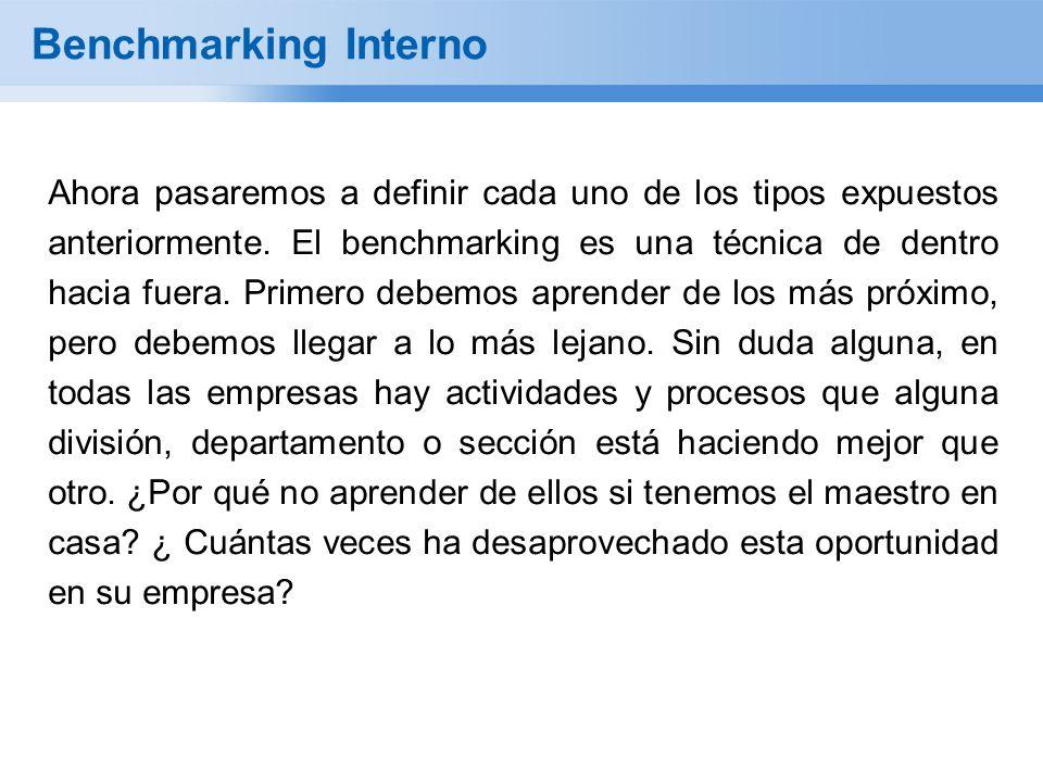 Benchmarking Interno Ahora pasaremos a definir cada uno de los tipos expuestos anteriormente. El benchmarking es una técnica de dentro hacia fuera. Pr