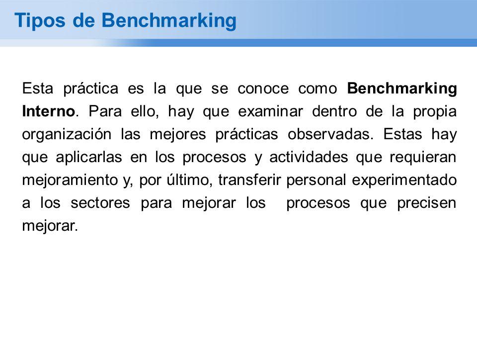 Tipos de Benchmarking Esta práctica es la que se conoce como Benchmarking Interno. Para ello, hay que examinar dentro de la propia organización las me