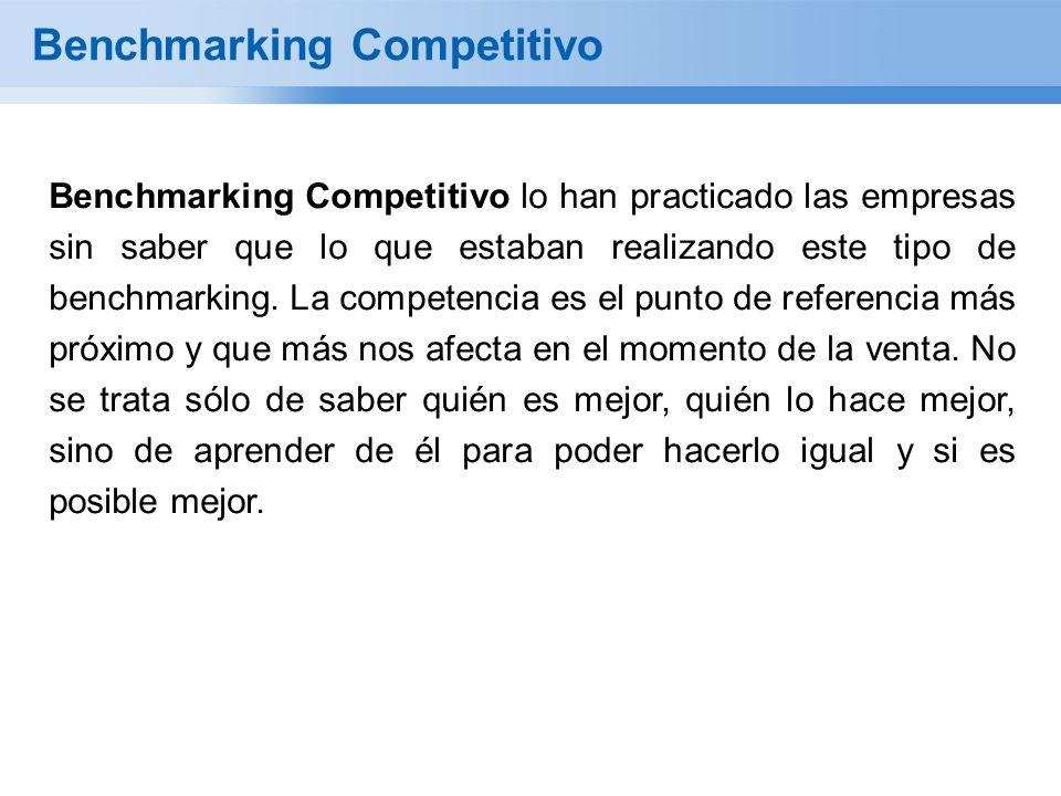 Benchmarking Competitivo Benchmarking Competitivo lo han practicado las empresas sin saber que lo que estaban realizando este tipo de benchmarking. La