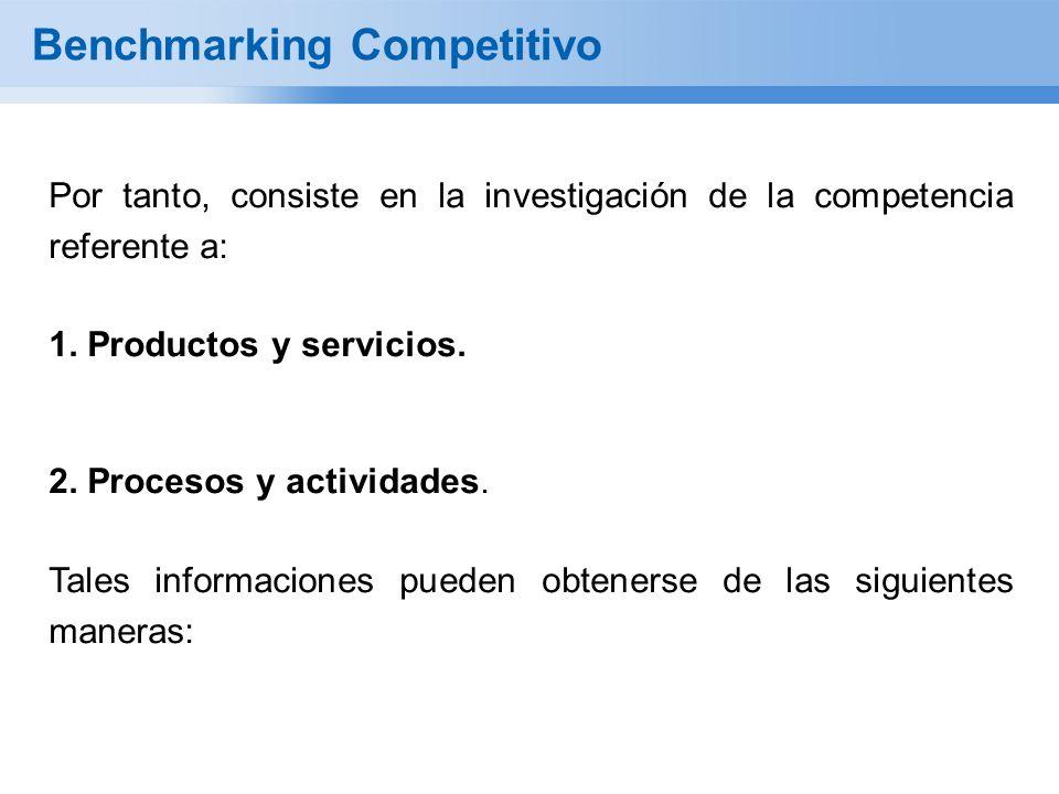 Benchmarking Competitivo Por tanto, consiste en la investigación de la competencia referente a: 1. Productos y servicios. 2. Procesos y actividades. T