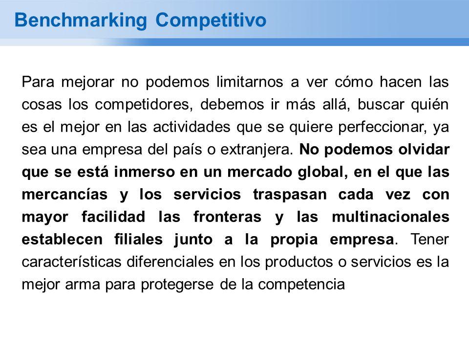 Benchmarking Competitivo Para mejorar no podemos limitarnos a ver cómo hacen las cosas los competidores, debemos ir más allá, buscar quién es el mejor en las actividades que se quiere perfeccionar, ya sea una empresa del país o extranjera.