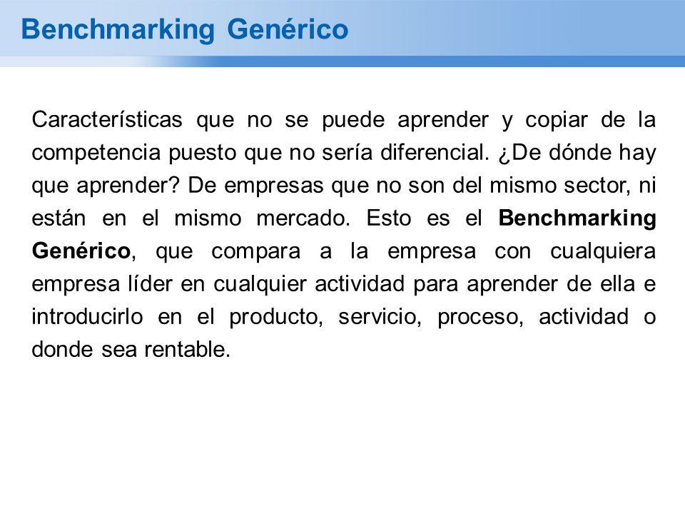 Benchmarking Genérico Características que no se puede aprender y copiar de la competencia puesto que no sería diferencial.