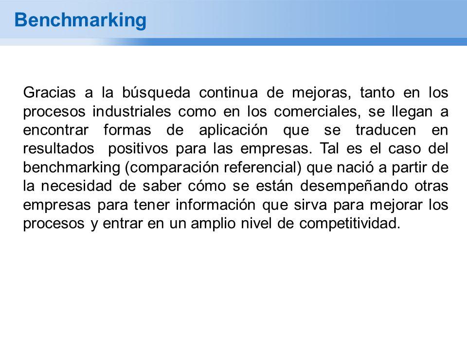 Benchmarking Gracias a la búsqueda continua de mejoras, tanto en los procesos industriales como en los comerciales, se llegan a encontrar formas de aplicación que se traducen en resultados positivos para las empresas.