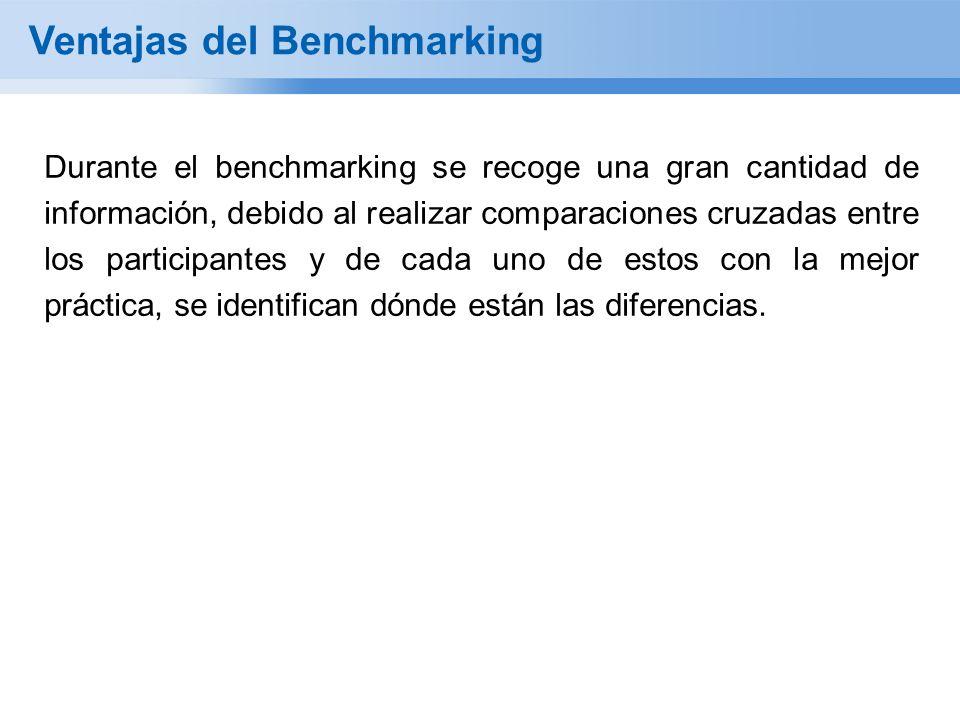 Durante el benchmarking se recoge una gran cantidad de información, debido al realizar comparaciones cruzadas entre los participantes y de cada uno de estos con la mejor práctica, se identifican dónde están las diferencias.