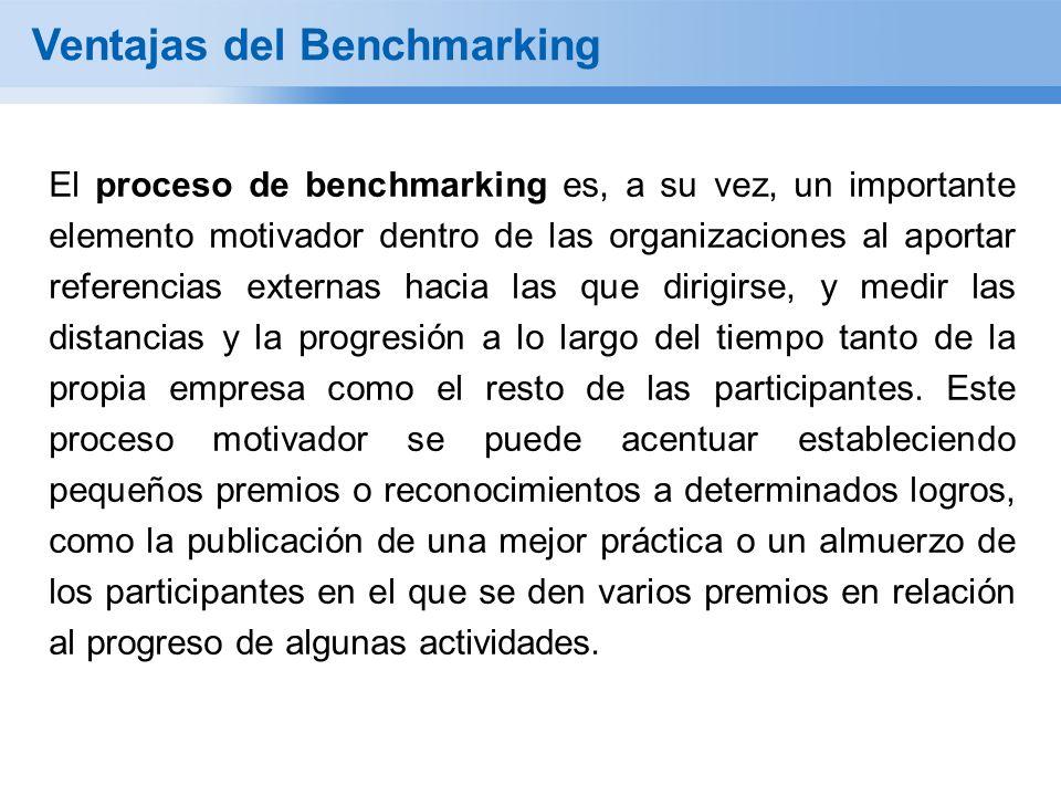 Ventajas del Benchmarking El proceso de benchmarking es, a su vez, un importante elemento motivador dentro de las organizaciones al aportar referencias externas hacia las que dirigirse, y medir las distancias y la progresión a lo largo del tiempo tanto de la propia empresa como el resto de las participantes.