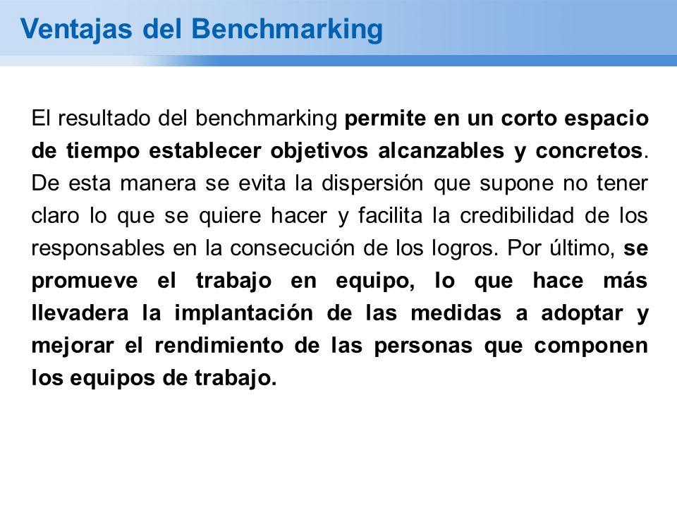 Ventajas del Benchmarking El resultado del benchmarking permite en un corto espacio de tiempo establecer objetivos alcanzables y concretos. De esta ma