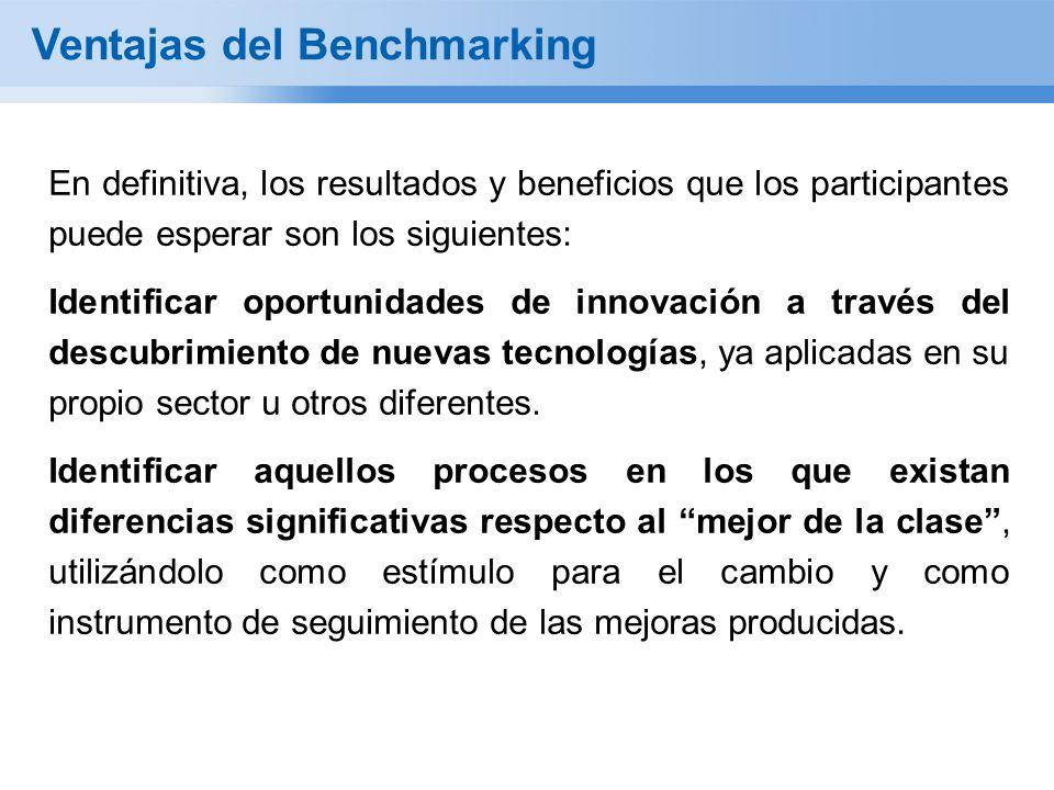 Ventajas del Benchmarking En definitiva, los resultados y beneficios que los participantes puede esperar son los siguientes: Identificar oportunidades de innovación a través del descubrimiento de nuevas tecnologías, ya aplicadas en su propio sector u otros diferentes.