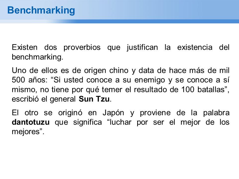 Benchmarking Existen dos proverbios que justifican la existencia del benchmarking. Uno de ellos es de origen chino y data de hace más de mil 500 años: