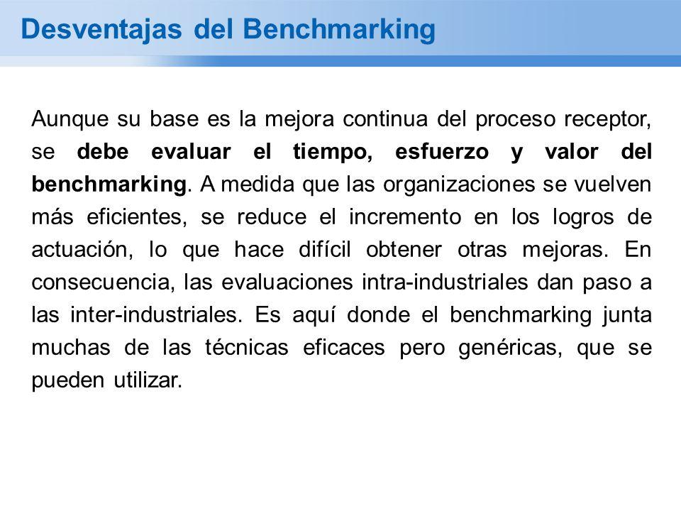 Aunque su base es la mejora continua del proceso receptor, se debe evaluar el tiempo, esfuerzo y valor del benchmarking. A medida que las organizacion