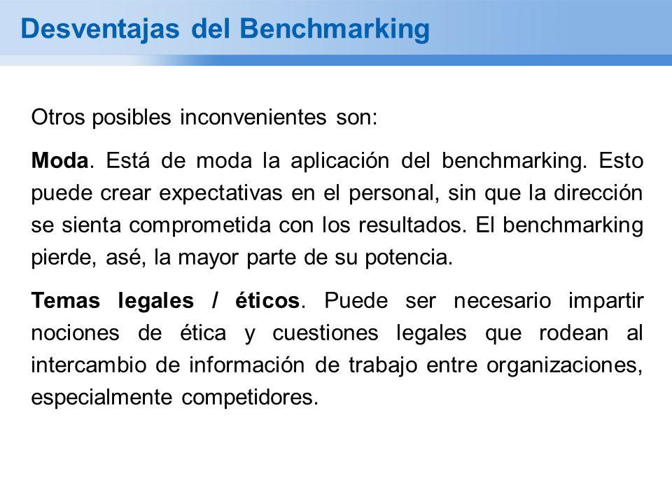 Desventajas del Benchmarking Otros posibles inconvenientes son: Moda. Está de moda la aplicación del benchmarking. Esto puede crear expectativas en el