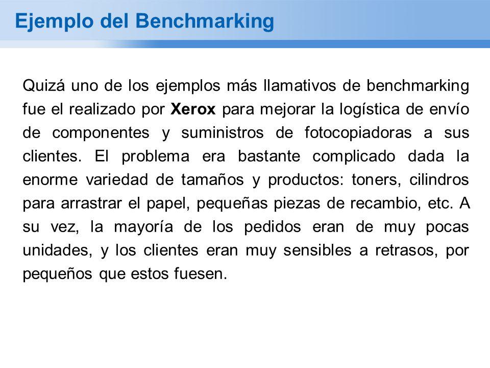 Ejemplo del Benchmarking Quizá uno de los ejemplos más llamativos de benchmarking fue el realizado por Xerox para mejorar la logística de envío de componentes y suministros de fotocopiadoras a sus clientes.
