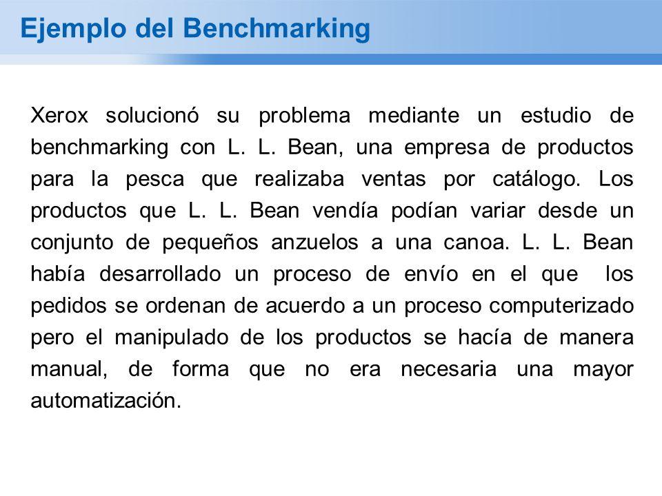 Ejemplo del Benchmarking Xerox solucionó su problema mediante un estudio de benchmarking con L. L. Bean, una empresa de productos para la pesca que re