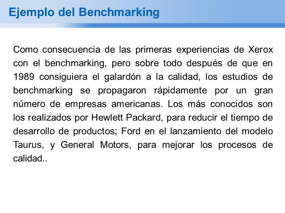 Ejemplo del Benchmarking Como consecuencia de las primeras experiencias de Xerox con el benchmarking, pero sobre todo después de que en 1989 consiguiera el galardón a la calidad, los estudios de benchmarking se propagaron rápidamente por un gran número de empresas americanas.