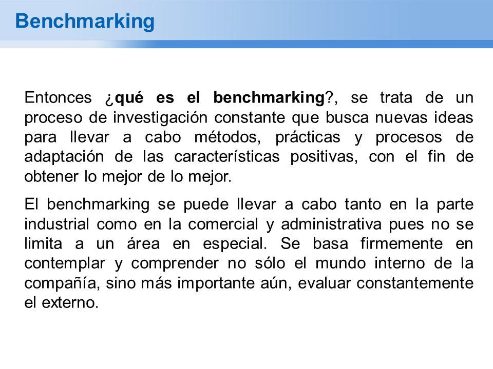 Benchmarking Entonces ¿qué es el benchmarking?, se trata de un proceso de investigación constante que busca nuevas ideas para llevar a cabo métodos, prácticas y procesos de adaptación de las características positivas, con el fin de obtener lo mejor de lo mejor.