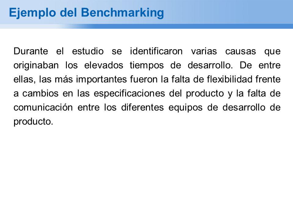 Ejemplo del Benchmarking Durante el estudio se identificaron varias causas que originaban los elevados tiempos de desarrollo. De entre ellas, las más