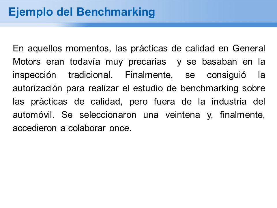 Ejemplo del Benchmarking En aquellos momentos, las prácticas de calidad en General Motors eran todavía muy precarias y se basaban en la inspección tra