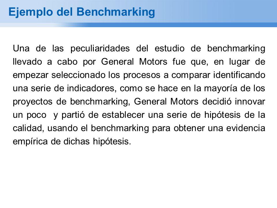 Ejemplo del Benchmarking Una de las peculiaridades del estudio de benchmarking llevado a cabo por General Motors fue que, en lugar de empezar seleccionado los procesos a comparar identificando una serie de indicadores, como se hace en la mayoría de los proyectos de benchmarking, General Motors decidió innovar un poco y partió de establecer una serie de hipótesis de la calidad, usando el benchmarking para obtener una evidencia empírica de dichas hipótesis.