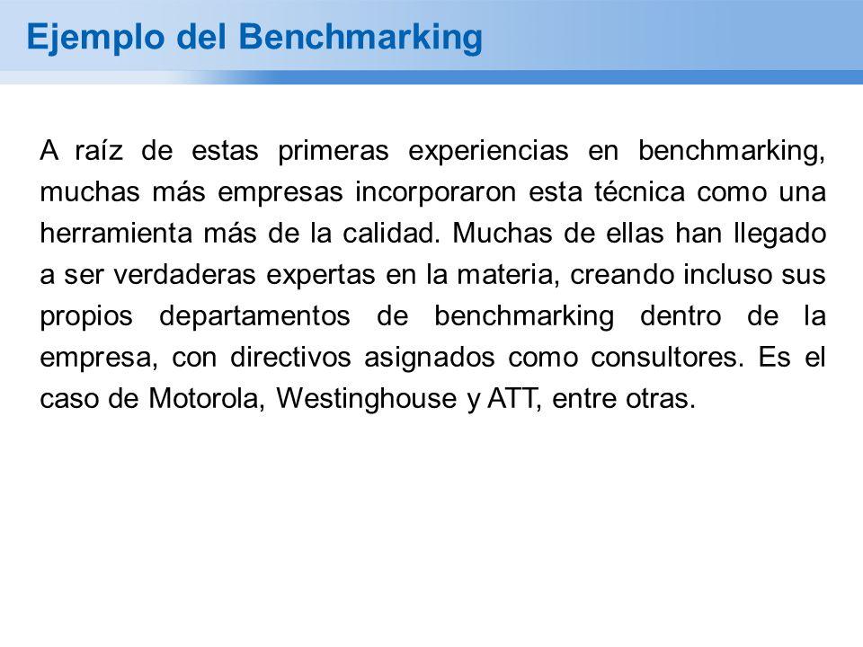 Ejemplo del Benchmarking A raíz de estas primeras experiencias en benchmarking, muchas más empresas incorporaron esta técnica como una herramienta más de la calidad.