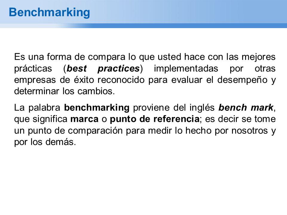 Benchmarking Es una forma de compara lo que usted hace con las mejores prácticas (best practices) implementadas por otras empresas de éxito reconocido para evaluar el desempeño y determinar los cambios.