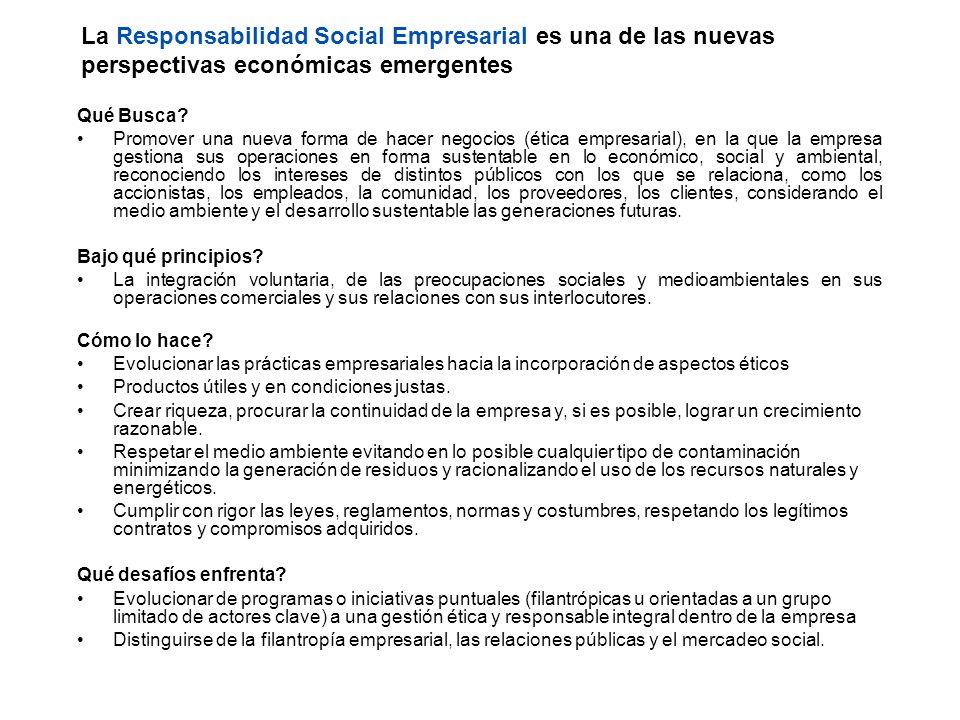 La Responsabilidad Social Empresarial es una de las nuevas perspectivas económicas emergentes Qué Busca? Promover una nueva forma de hacer negocios (é