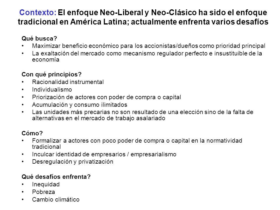 Contexto: El enfoque Neo-Liberal y Neo-Clásico ha sido el enfoque tradicional en América Latina; actualmente enfrenta varios desafíos Qué busca? Maxim