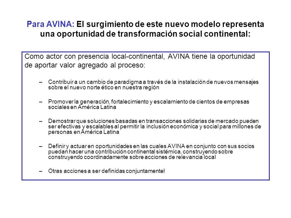 Para AVINA: El surgimiento de este nuevo modelo representa una oportunidad de transformación social continental: Como actor con presencia local-contin