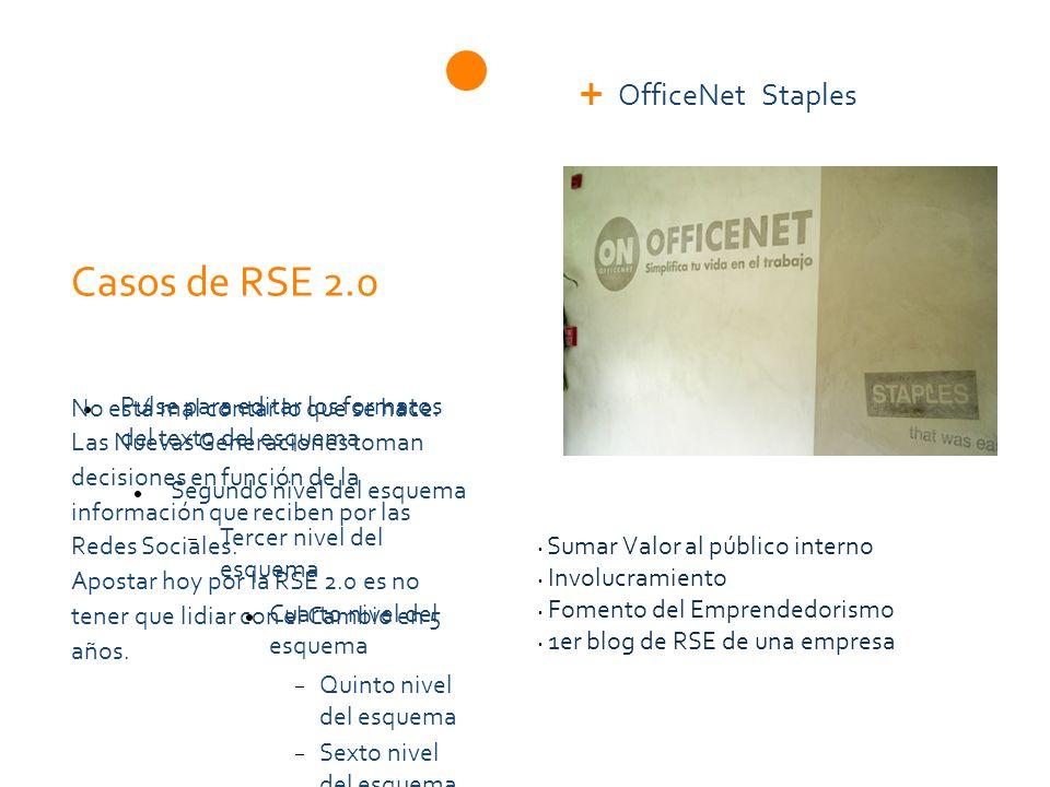 Pulse para editar los formatos del texto del esquema Segundo nivel del esquema Tercer nivel del esquema Cuarto nivel del esquema Quinto nivel del esquema Sexto nivel del esquema Séptimo nivel del esquema Octavo nivel del esquema Noveno nivel del esquemaHaga clic para modificar el estilo de texto del patrón Casos de RSE 2.0 OfficeNet Staples No está mal contar lo que se hace.